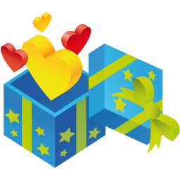 256x256px size png icon of gift hearts