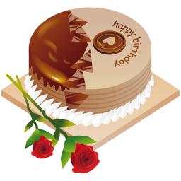 256x256px size png icon of happy birthday cake