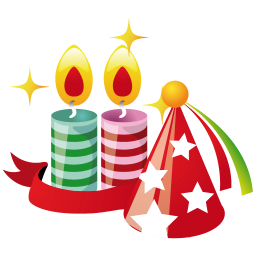 256x256px size png icon of party hat candles