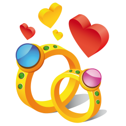 256x256px size png icon of ring hearts