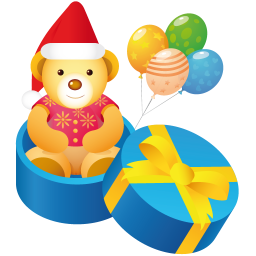 256x256px size png icon of teddy gift