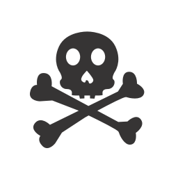 256x256px size png icon of skull crossbones