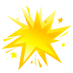 256x256px size png icon of fireworks yellow