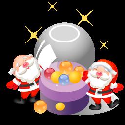 256x256px size png icon of santa christmas balls