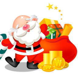 256x256px size png icon of santa gifts bag