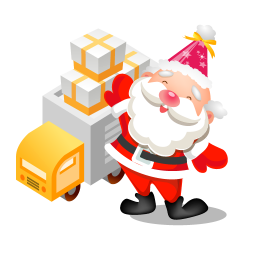 256x256px size png icon of santa gifts truck
