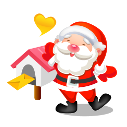 256x256px size png icon of santa mail