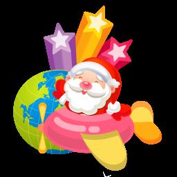256x256px size png icon of santa plane