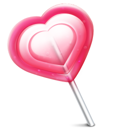 256x256px size png icon of love heart lolly
