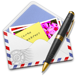 256x256px size png icon of AirMail Stamp Photo Pen