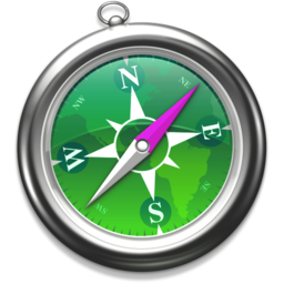 256x256px size png icon of Safari groen