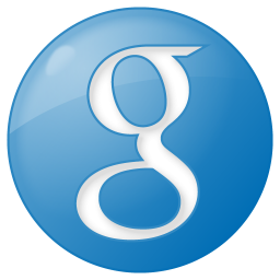 256x256px size png icon of social google button blue