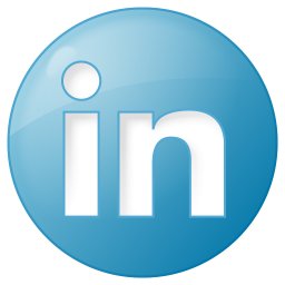 256x256px size png icon of social linkedin button blue
