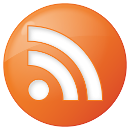 256x256px size png icon of social rss button orange
