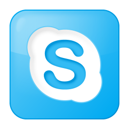 256x256px size png icon of social skype box blue