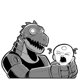 256x256px size png icon of Robot Dino
