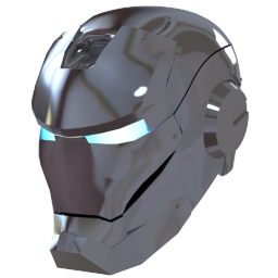 256x256px size png icon of Ironman Mask 2 Silver