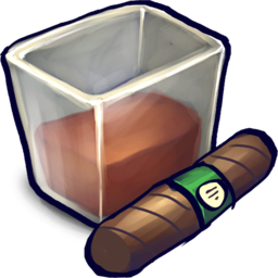 256x256px size png icon of Brown Liquid Filled Glizass With Cigar