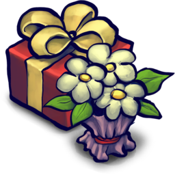 256x256px size png icon of Present Box and Flowers