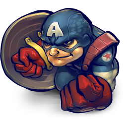 256x256px size png icon of Comics Captain America