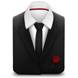 256x256px size png icon of Manager Suit Black Tie Rose