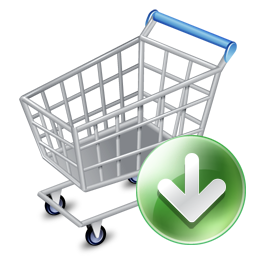 256x256px size png icon of shop cart down