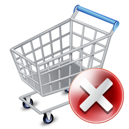 256x256px size png icon of shop cart exclude