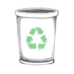 256x256px size png icon of recycle bin