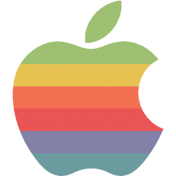 256x256px size png icon of rainbow apple logo