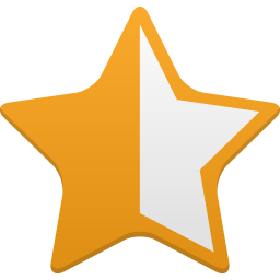 256x256px size png icon of star half full