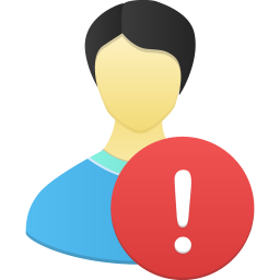 256x256px size png icon of Male user warning