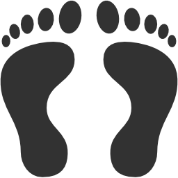256x256px size png icon of Tracks Footprints Human footprints
