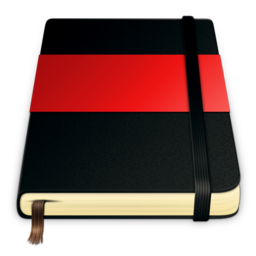 256x256px size png icon of moleskine red 512