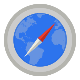 256x256px size png icon of Internet safari with map