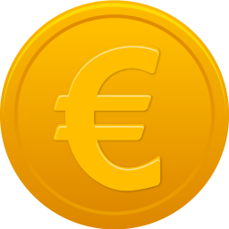 256x256px size png icon of coin euro
