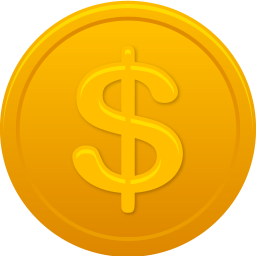 256x256px size png icon of coin us dollar