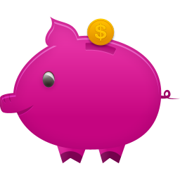 256x256px size png icon of piggy bank