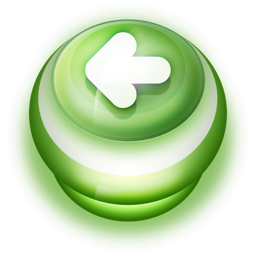 256x256px size png icon of Button Green Arrow Left