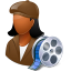 64x64px size png icon of Occupations Film Maker Female Dark