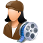 64x64px size png icon of Occupations Film Maker Female Light