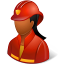 64x64px size png icon of Occupations Firefighter Female Dark