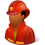 64x64px size png icon of Occupations Firefighter Male Dark