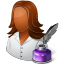 64x64px size png icon of Occupations Writer Female Dark