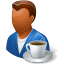 64x64px size png icon of Rest Person Coffee Break Male Dark
