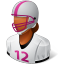 64x64px size png icon of Sport Football Player Female Dark