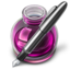 64x64px size png icon of Pink Fire w silver pen 128
