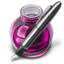 64x64px size png icon of Pink Fire w silver pen