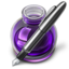 64x64px size png icon of Purple Fire w silver pen