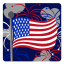 64x64px size png icon of Independence Day 3 Flag Fireworks