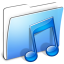 64x64px size png icon of Aqua Smooth Folder Music